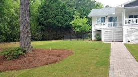 Lakeside, New Sod, Mulch & Paver Walkway
