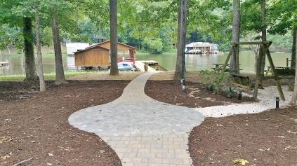 Circular Patio and Stone Paver Walkway