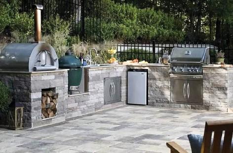 Brick Oven, Smoker, Storage, Sink & Refrigerator