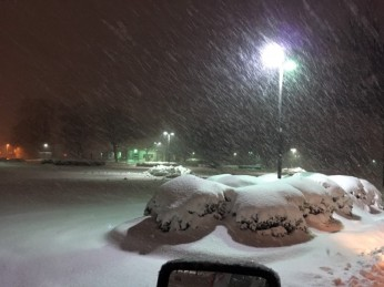 stony parking lot during snow 12 9 18 2